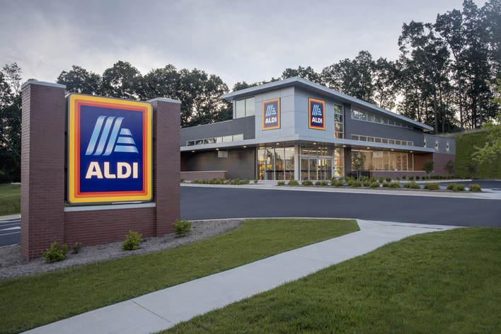 ALDI Store Exterior with ALDI Sign