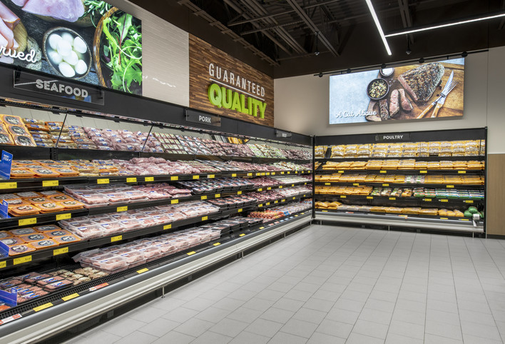 ALDI Seafood and Meat Sections